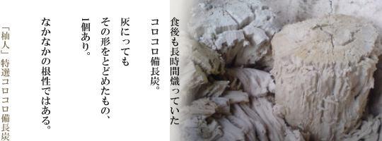 コロコロ備長炭の灰